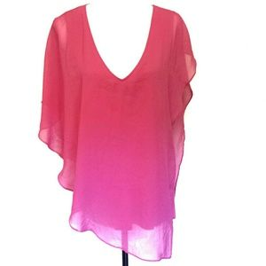 V-neck Asymmetrical Layered Top Cache Pink Large